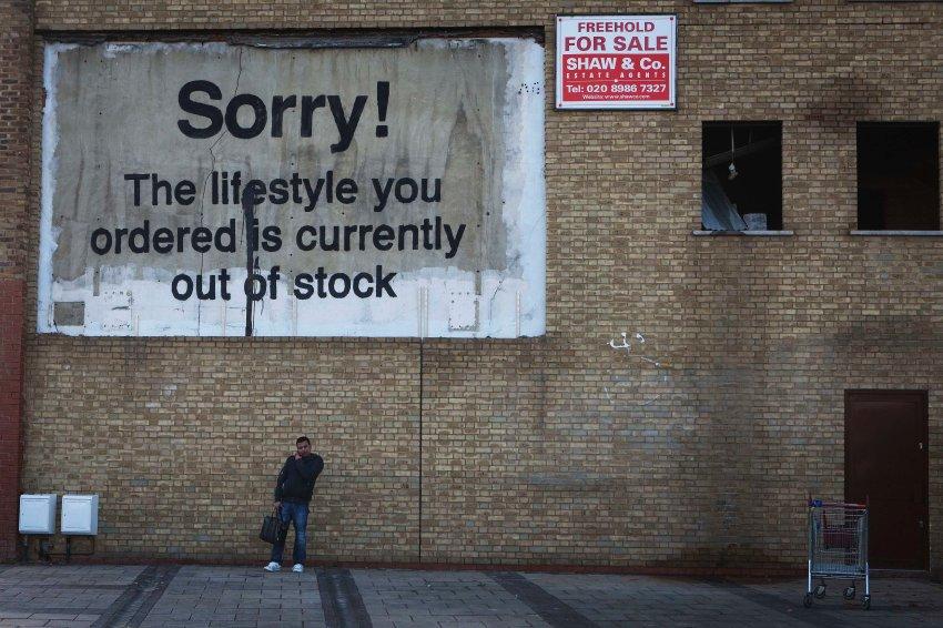 A work by the graffiti artist Banksy, in London